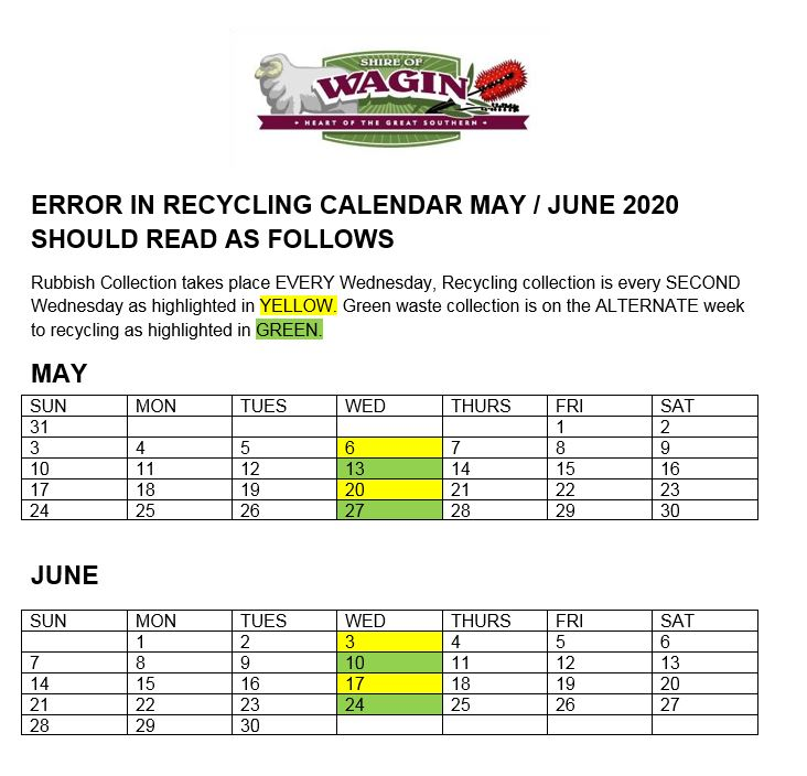 Shire of Wagin Recycling Dates - Error