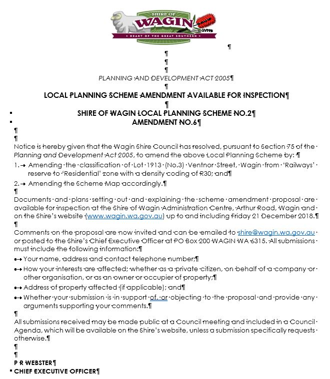 Public Advertising - Proposed Amendment No. 6 to Local Planning Scheme